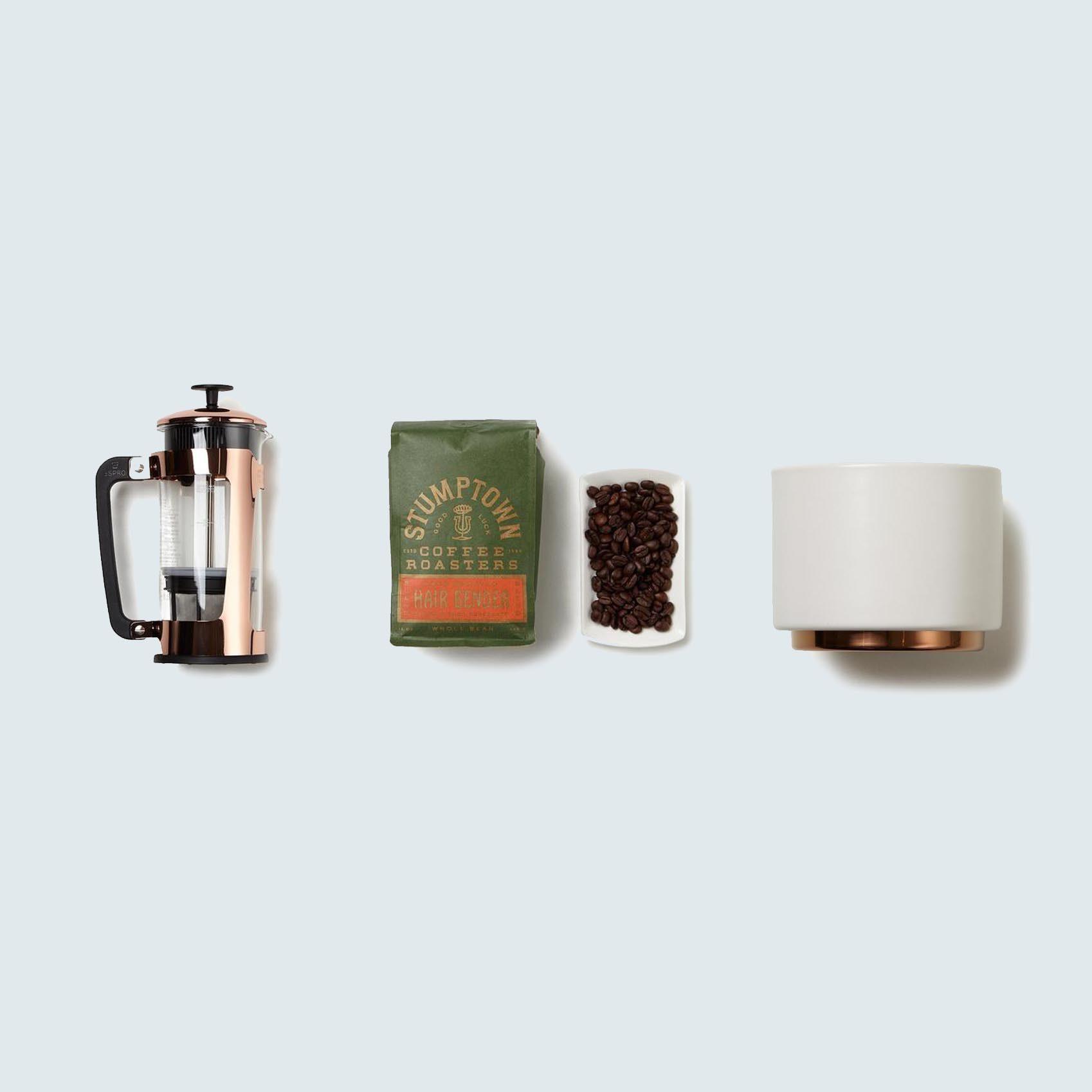 Knack Café Society French Press and Ceramic Mugs Gift Set