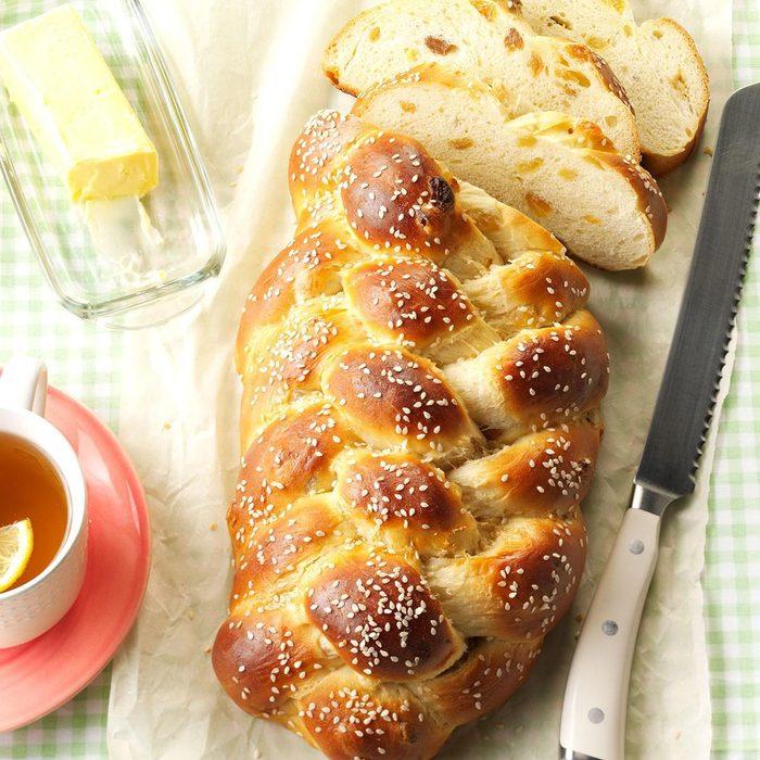 Honey Challah next to butter