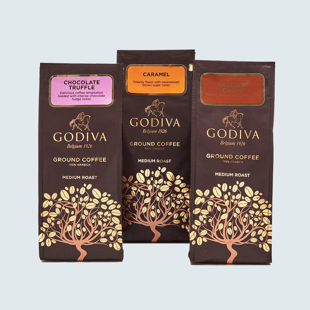 Godiva Chocolatier Assorted Ground Coffee Gift Bag, set of 3
