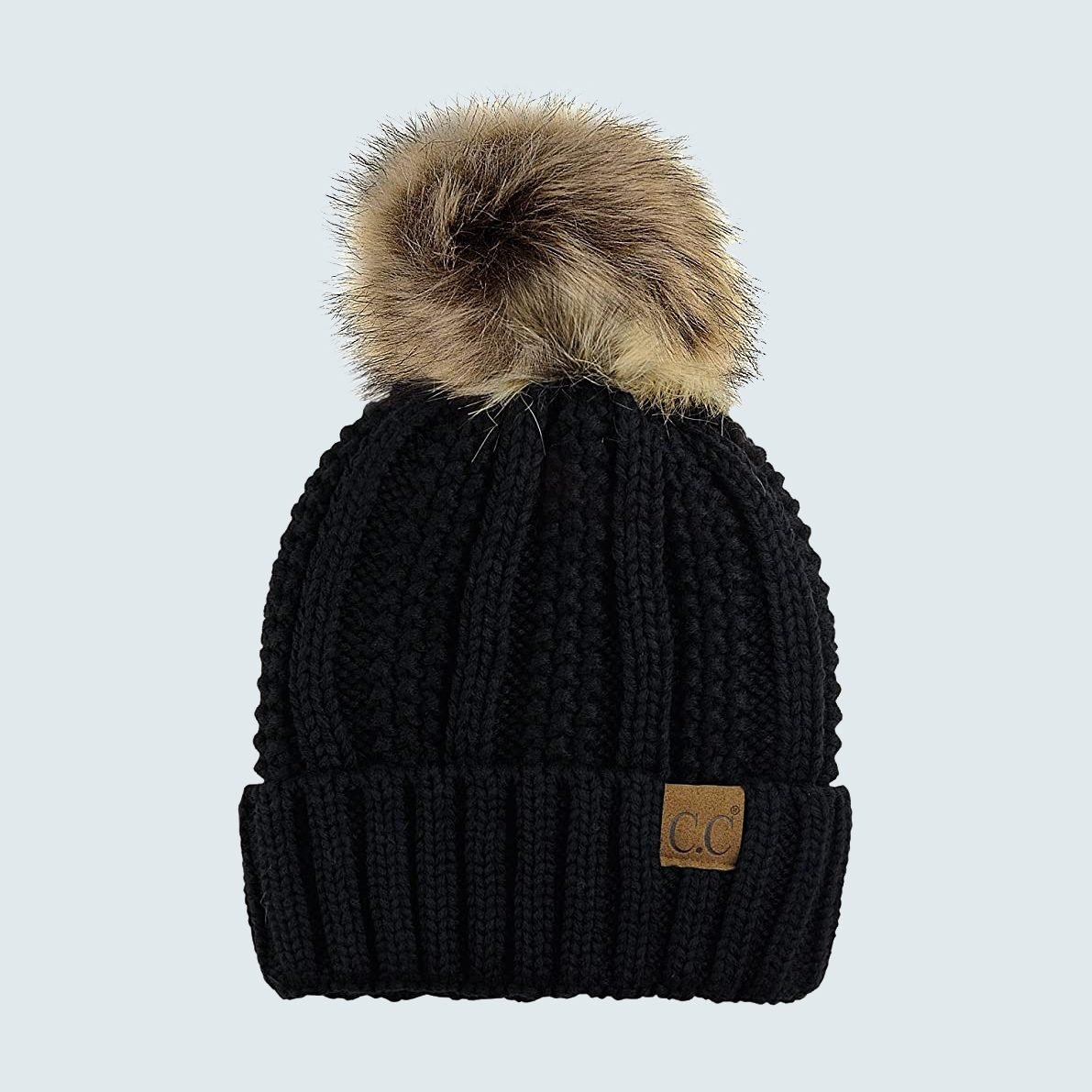 C.C. Thick Cable Knit Faux Fuzzy Fur Pom Beanie