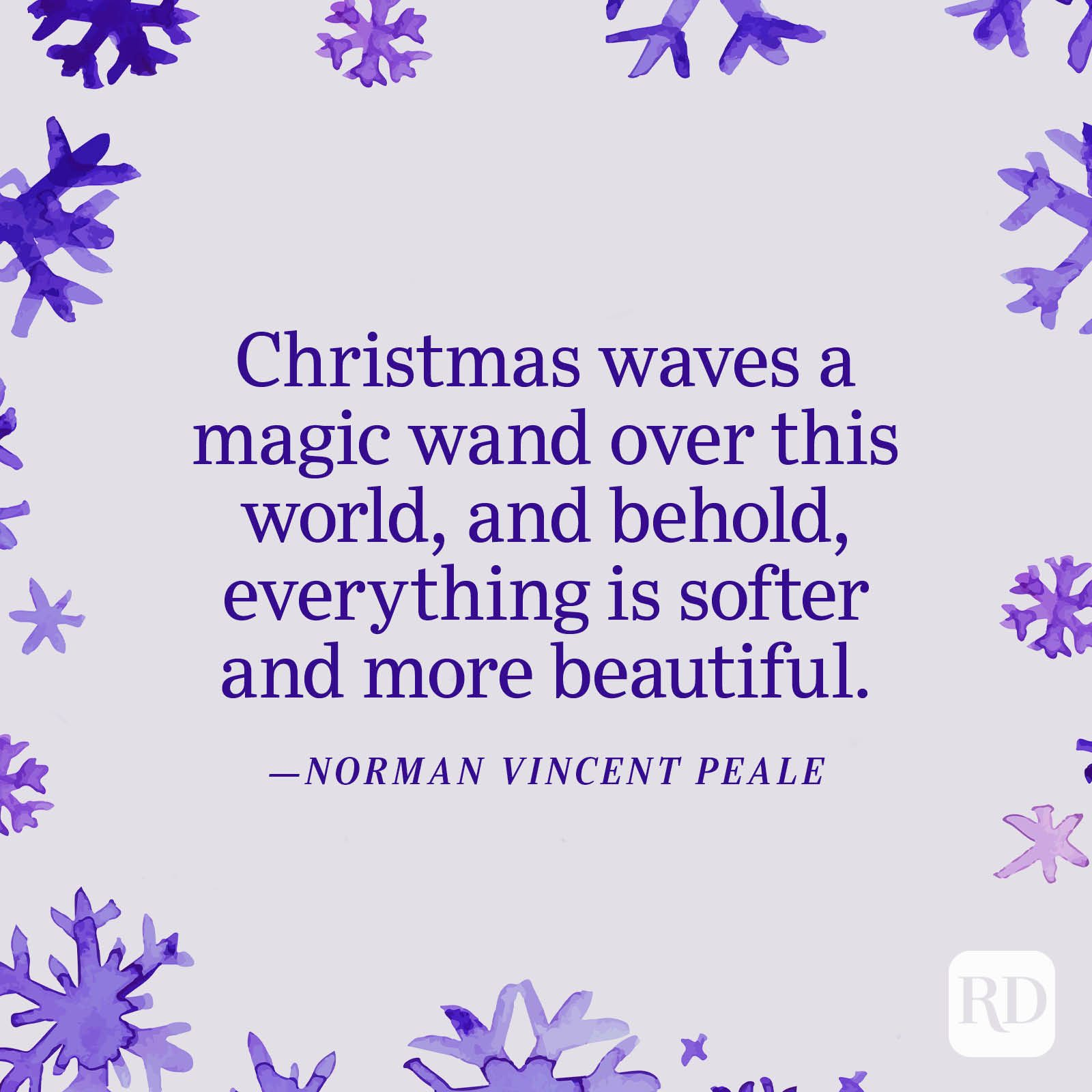 """""""Christmas waves a magic wand over this world, and behold, everything is softer and more beautiful."""" —Norman Vincent Peale"""
