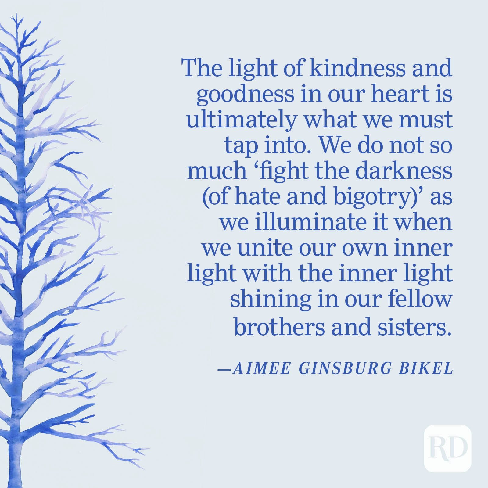 """""""The light of kindness and goodness in our heart is ultimately what we must tap into. We do not so much 'fight the darkness (of hate and bigotry)' as we illuminate it when we unite our own inner light with the inner light shining in our fellow brothers and sisters."""" —Aimee Ginsburg Bikel"""