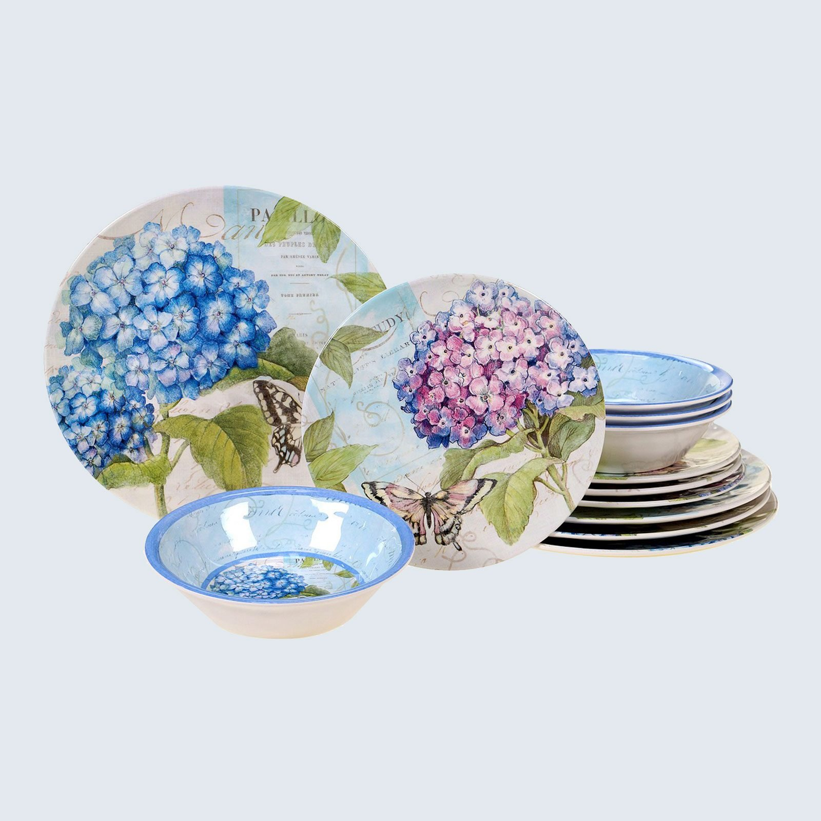 Hydrangea Garden Melamine Dinnerware Collection