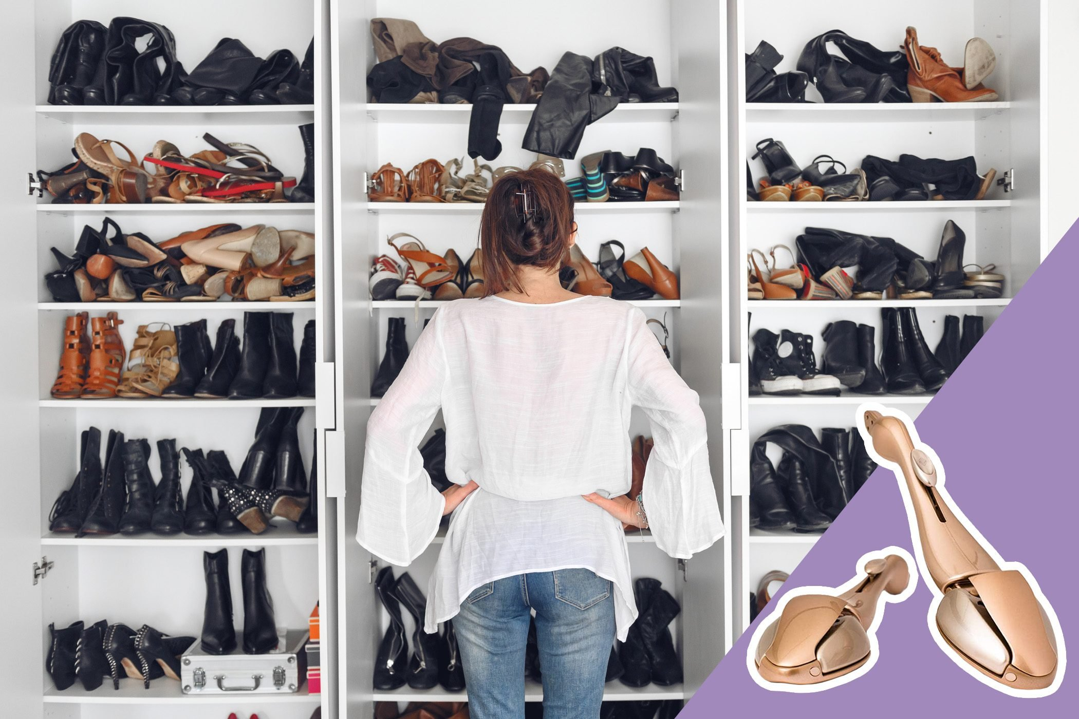 woman looking for comfortable shoes