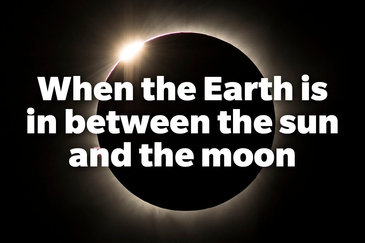 When the Earth is in between the sun and the moon