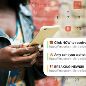 Woman scrolling on her iPhone with the calendar showing scam events
