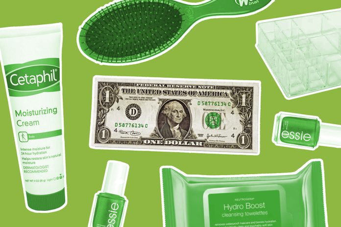 Beauty items surrounding a dollar bill to represent the dollar store