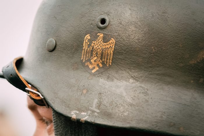 Helmet of the soldier Wehrmacht with symbols