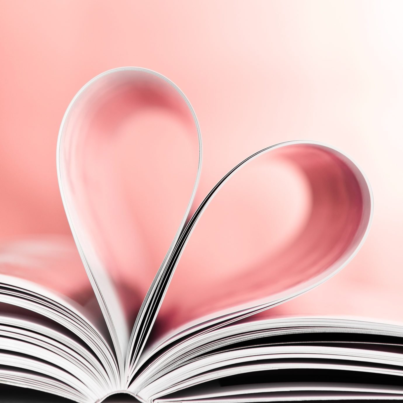 Love to reading books, pages folded into red heart shape