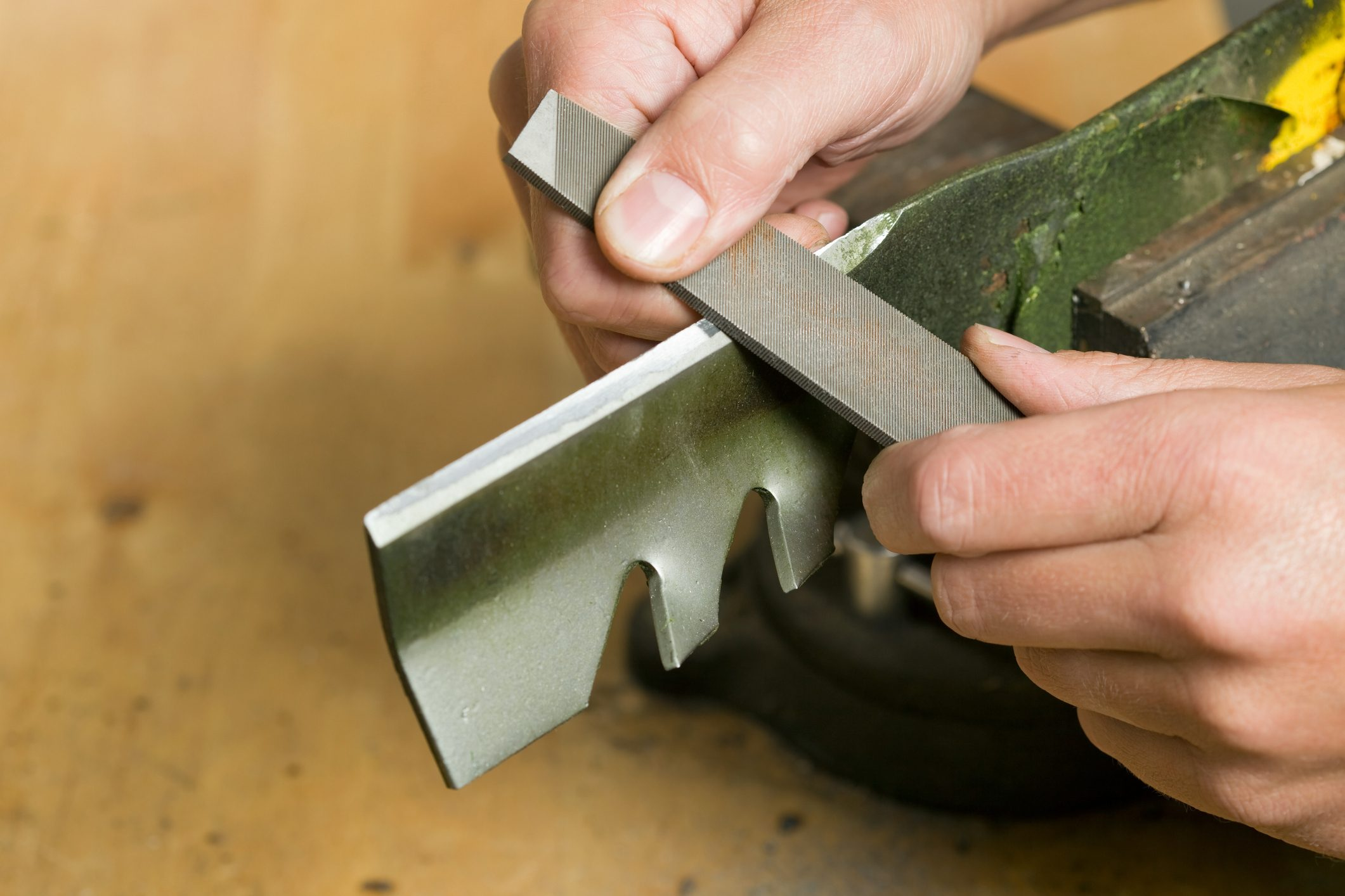 Lawnmower Blade Sharpening with File