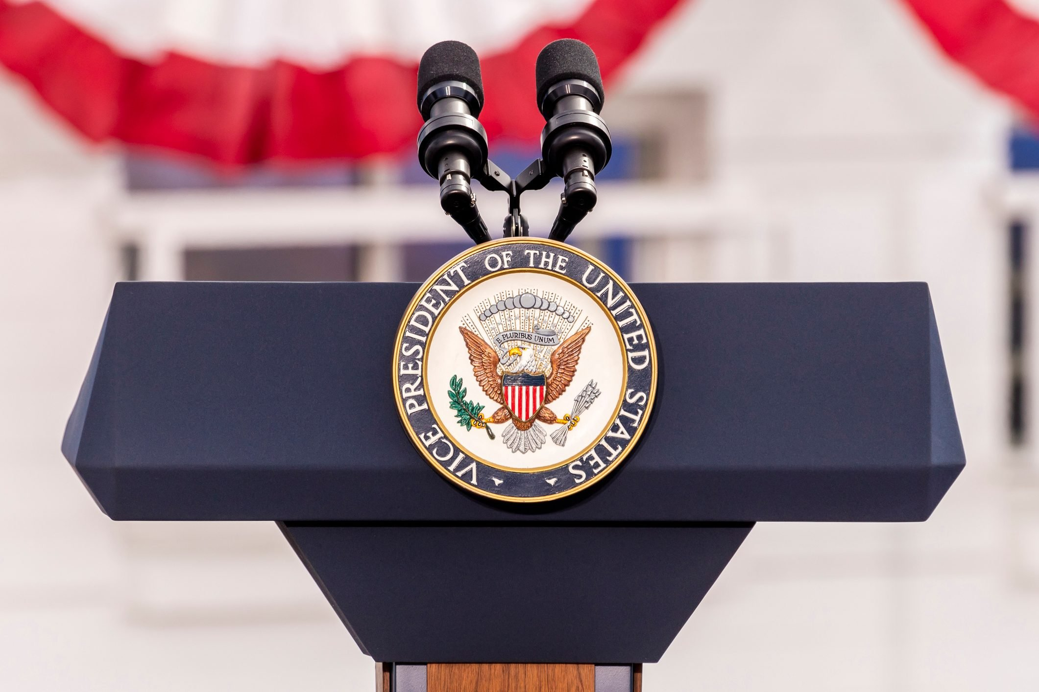 Vice Presidential Seal and Empty Podium