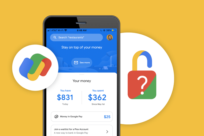 Google Pay screen beside a lock icon, superimposed with question mark. Is Apple Pay safe to use?