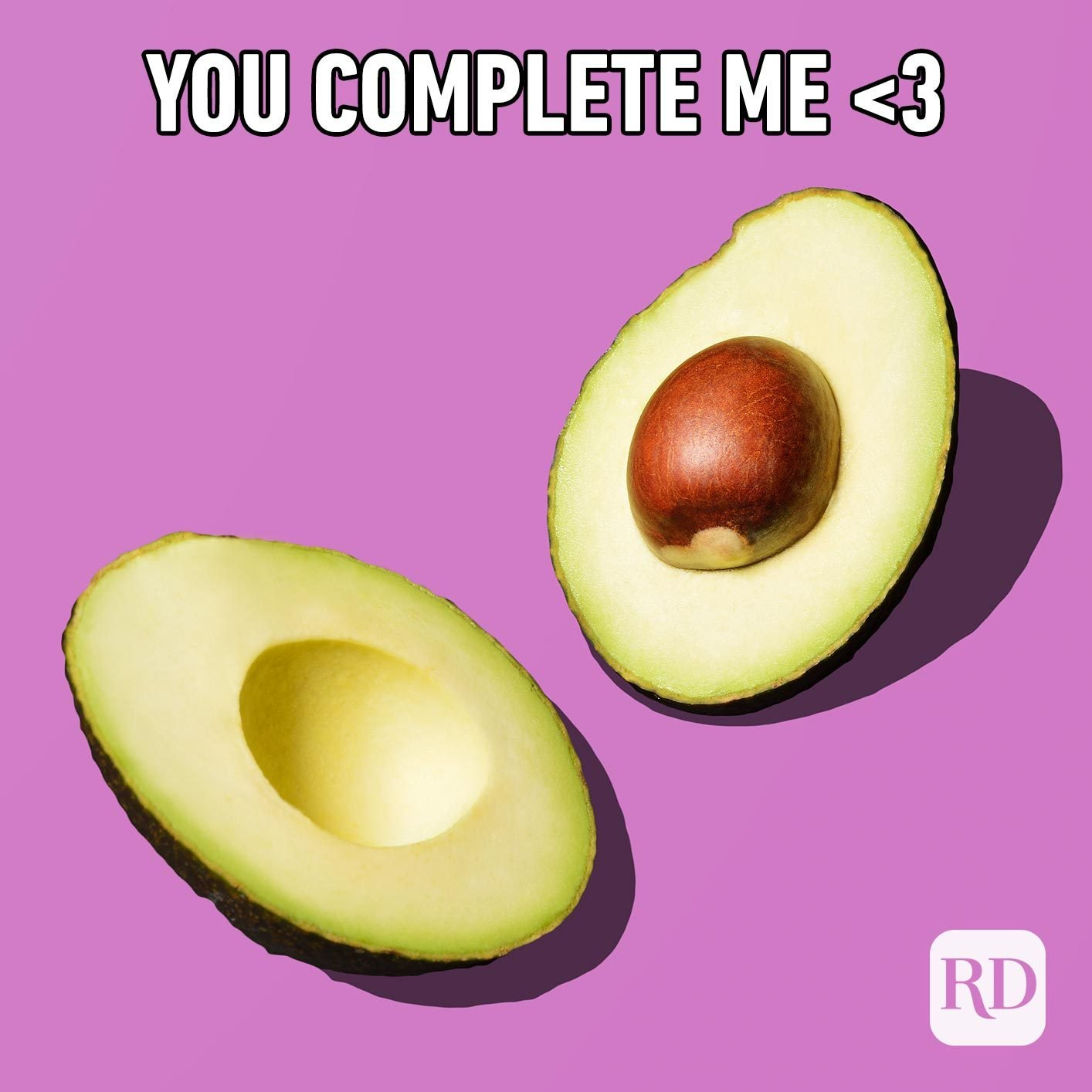 Avocado cut in half. Meme text: You complete me <3