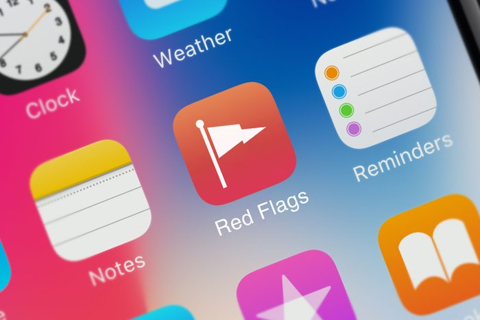 """An iPhone apps screen with an app called """"red flags"""""""