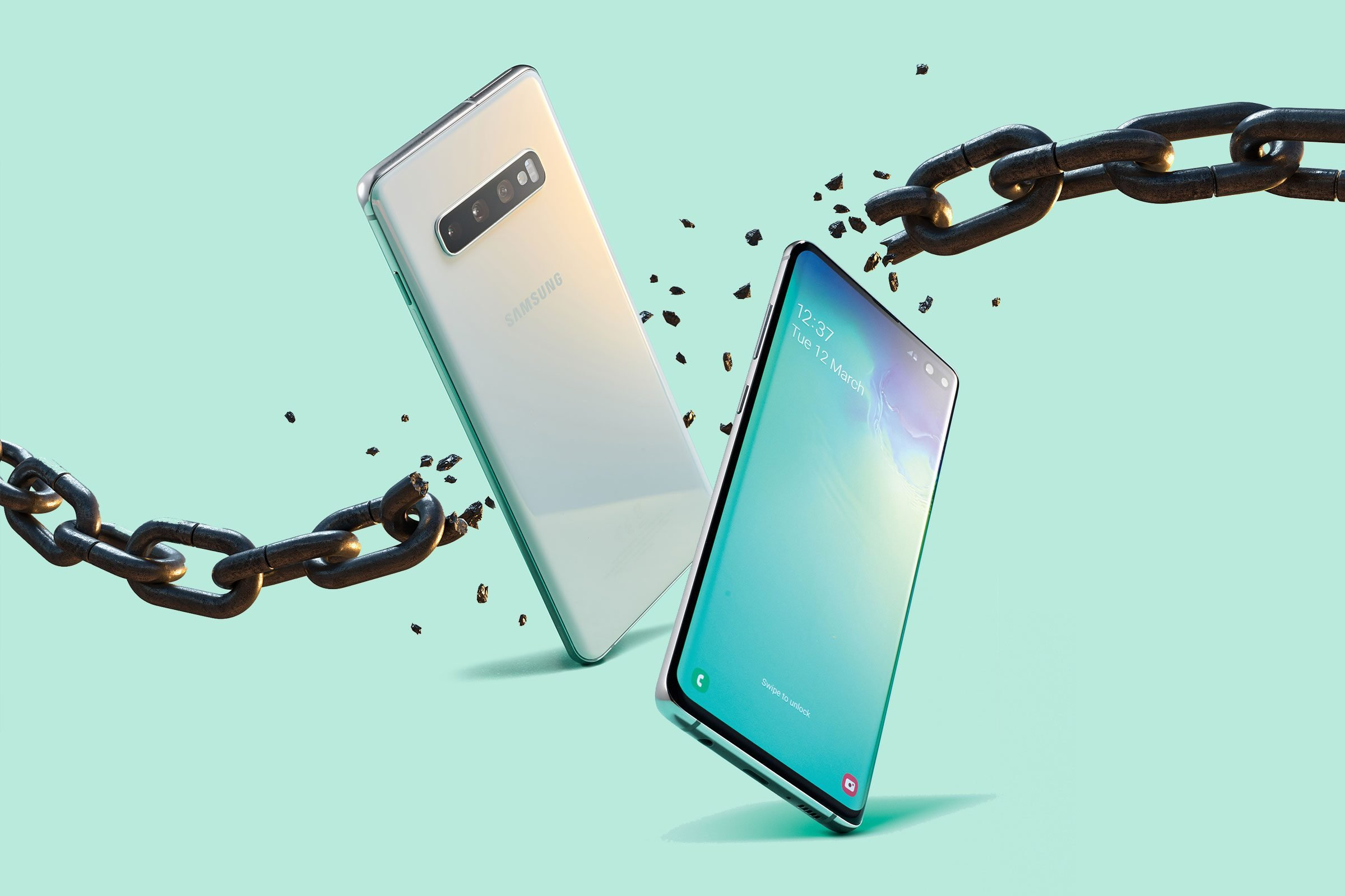 Two android phones breaking through a chain to represent rooting, or dismantling the phone's internal coding.