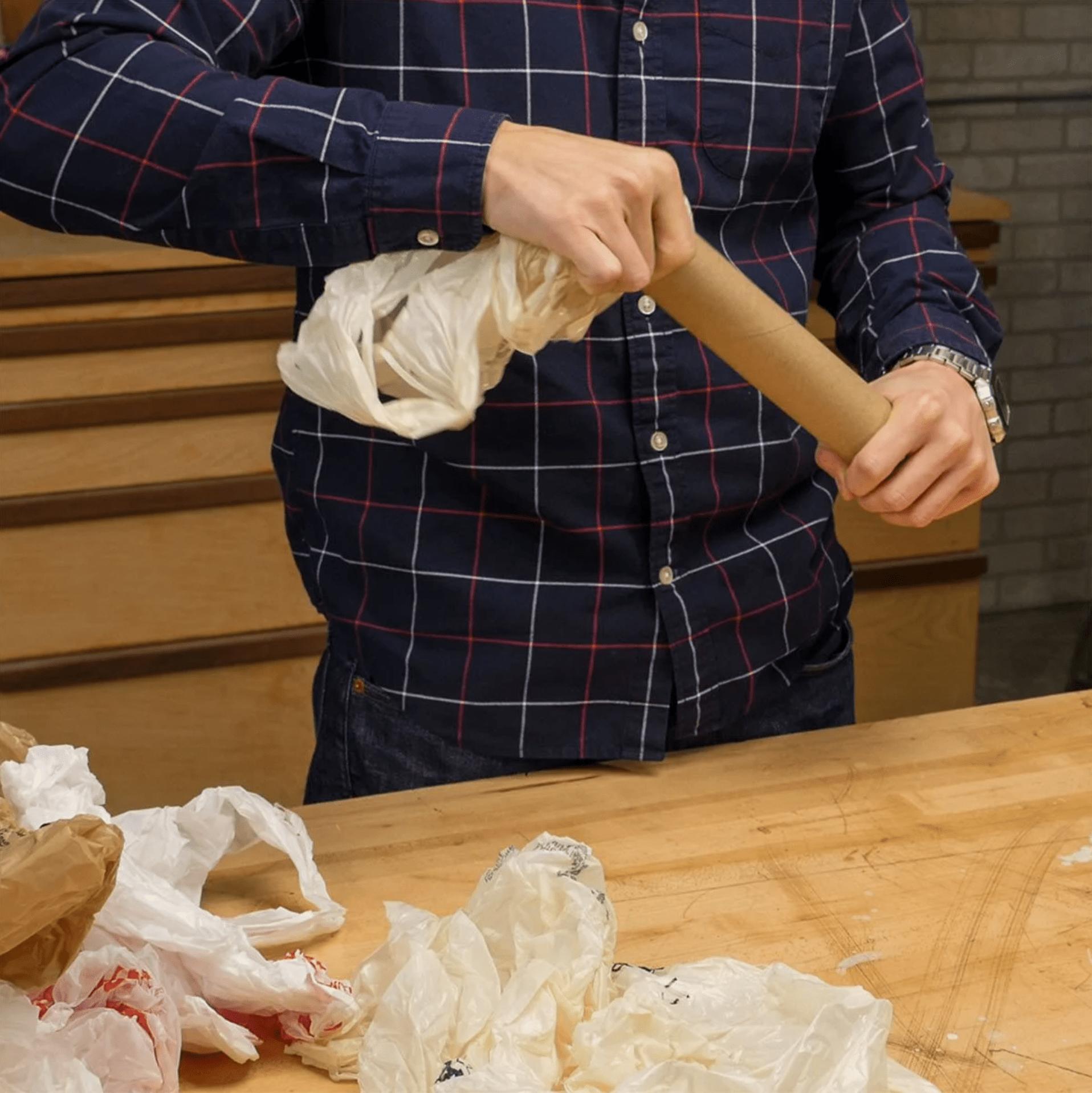 plastic bag holder paper towel roll