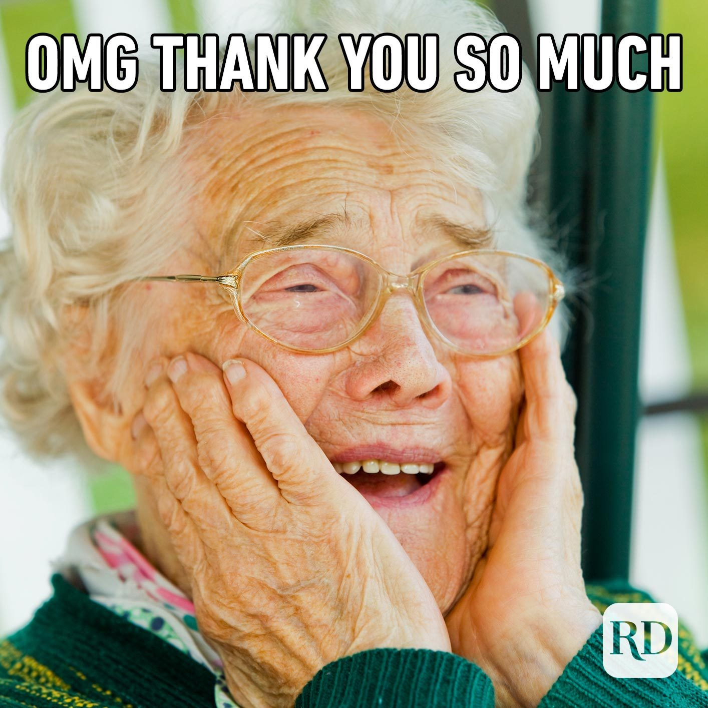 Woman crying happily. Meme text: OMG thank you so much