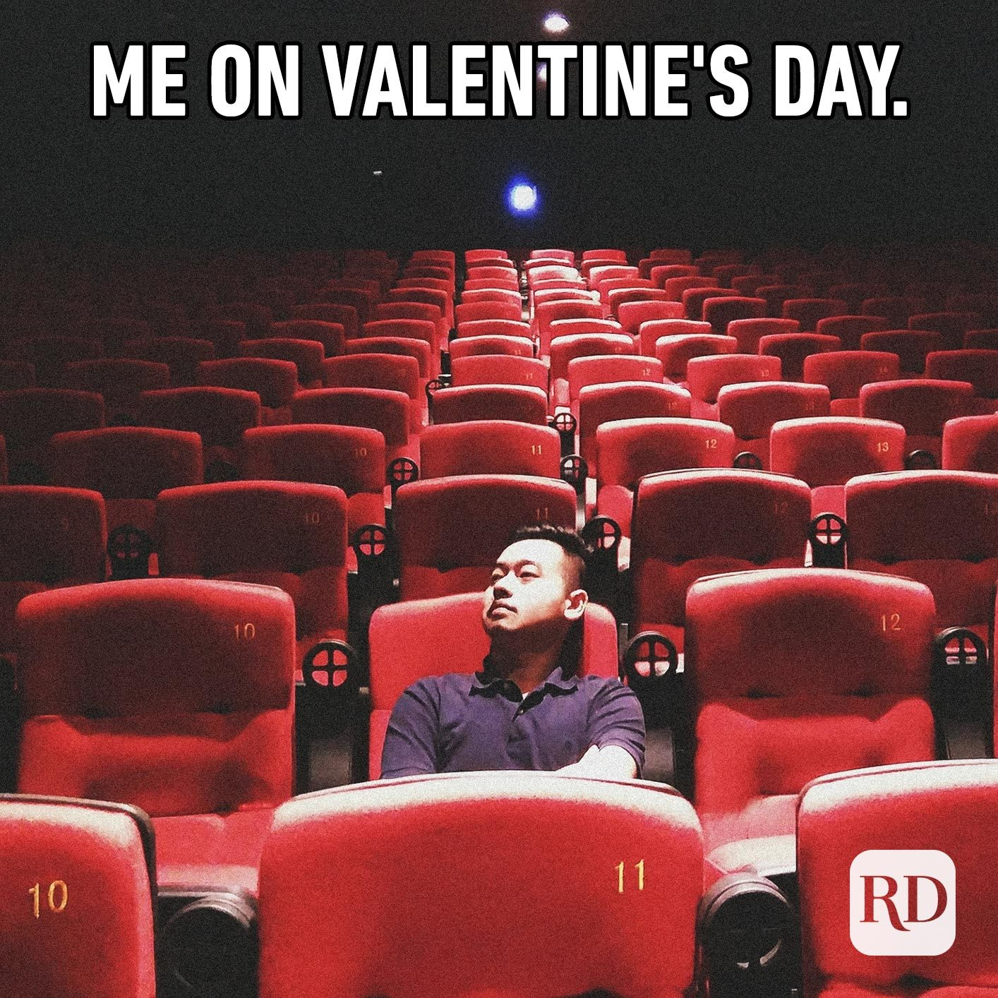 Man alone in movie theater. Meme text: Me on Valentine's Day.