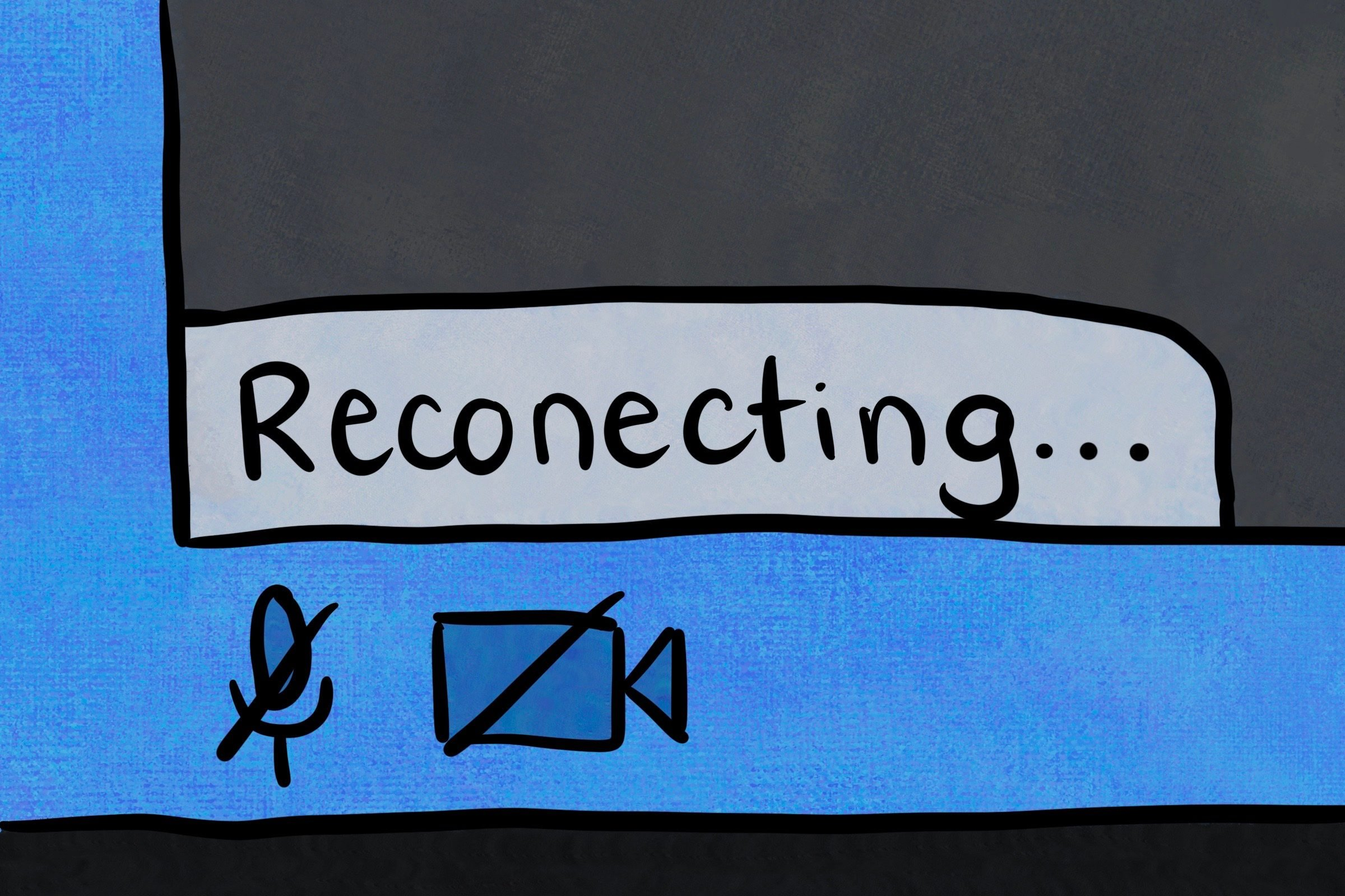 """Zoom screen with """"reconnecting"""" spelled incorrectly"""