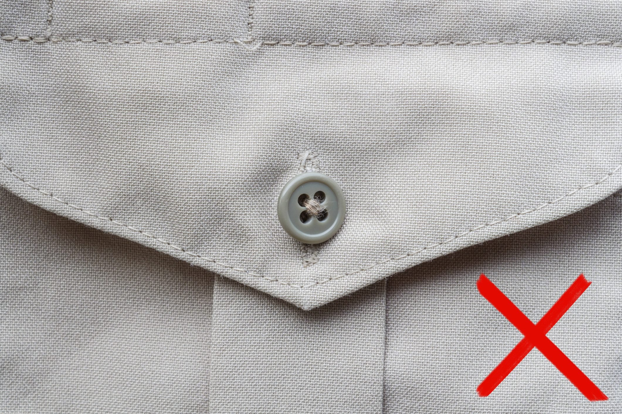 fastened button on a shirt