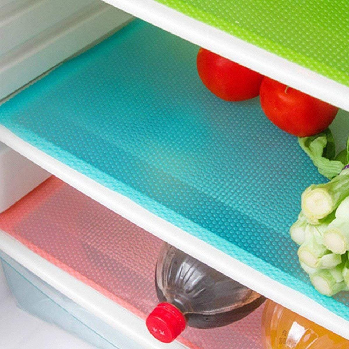 Aiosscd 7 PCS Shelf Mats Antifouling Refrigerator Liners Washable Can Be Cut Refrigerator Pads Fridge Mats Drawer Table Placemats(2 Green+2 Pink+3blue)