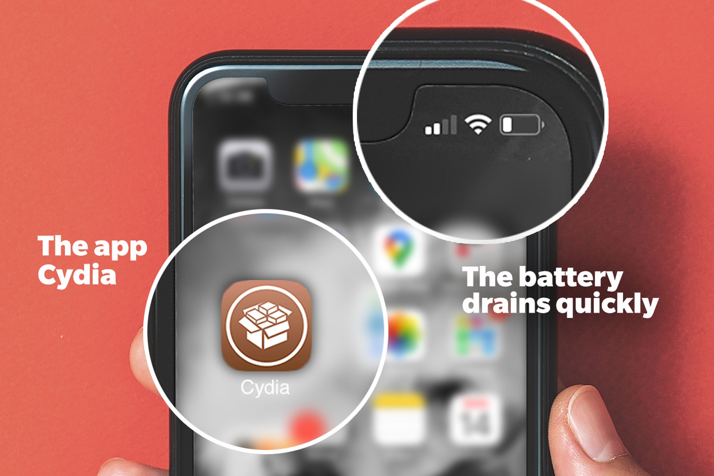 Two indications that there might be spyware installed on your phone: the app Cydia and a quickly-draining battery