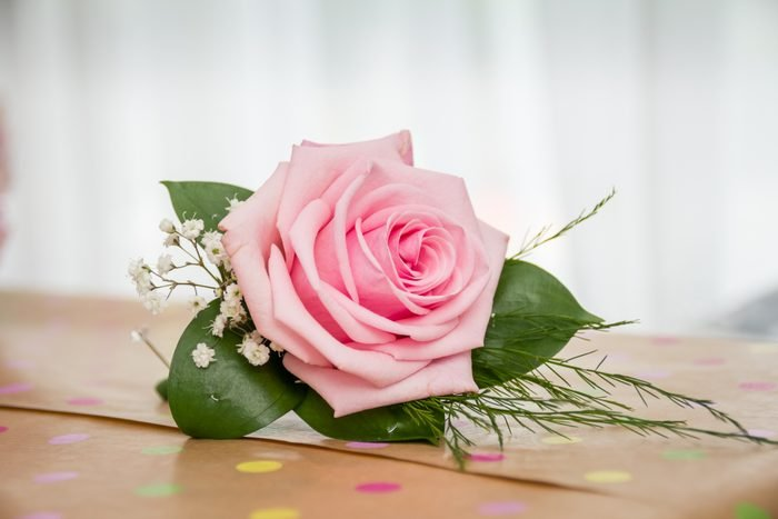 Single pink rose for groom's buttonhole