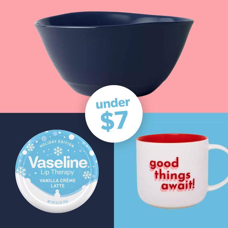 Target finds under $7. Grid of bowl, mug, and vaseline.