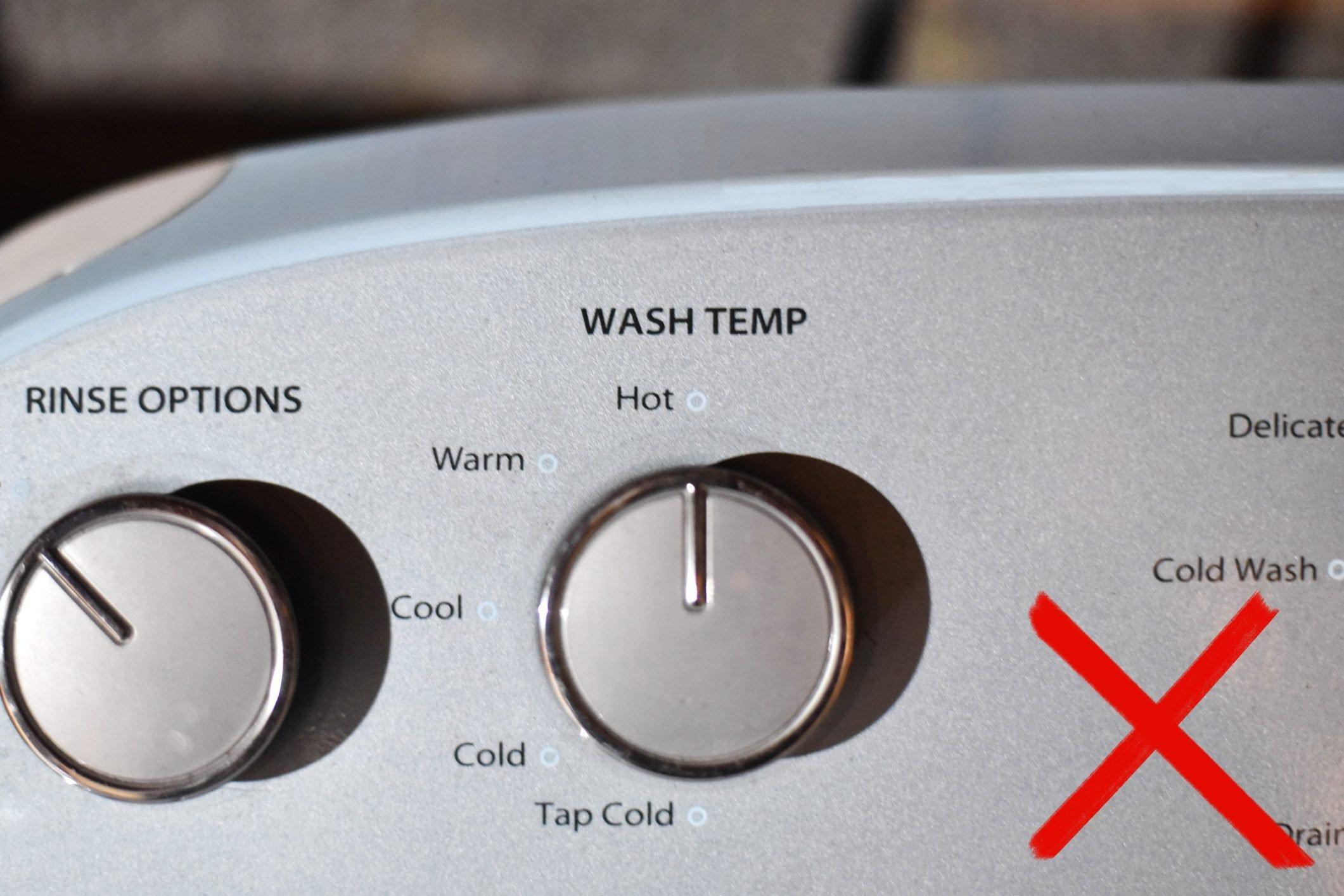 water temperature knob on laundry machine