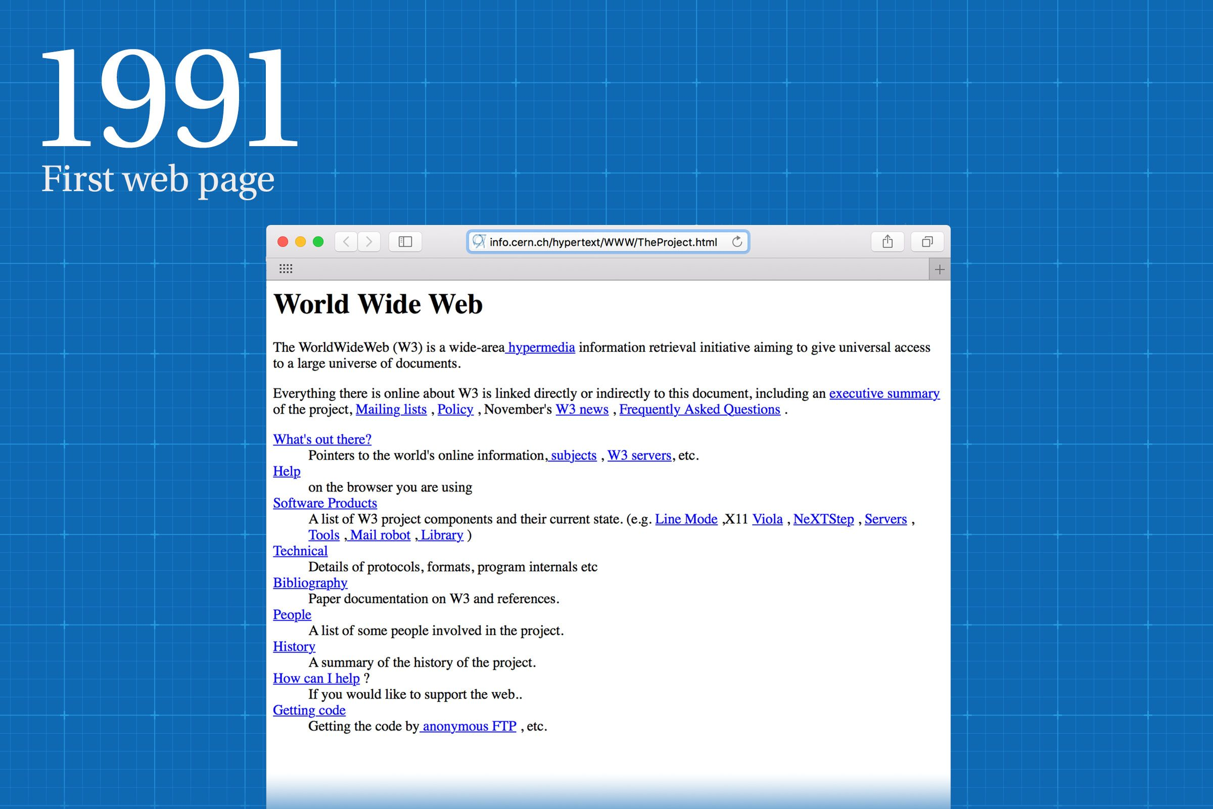 1991: The first web page