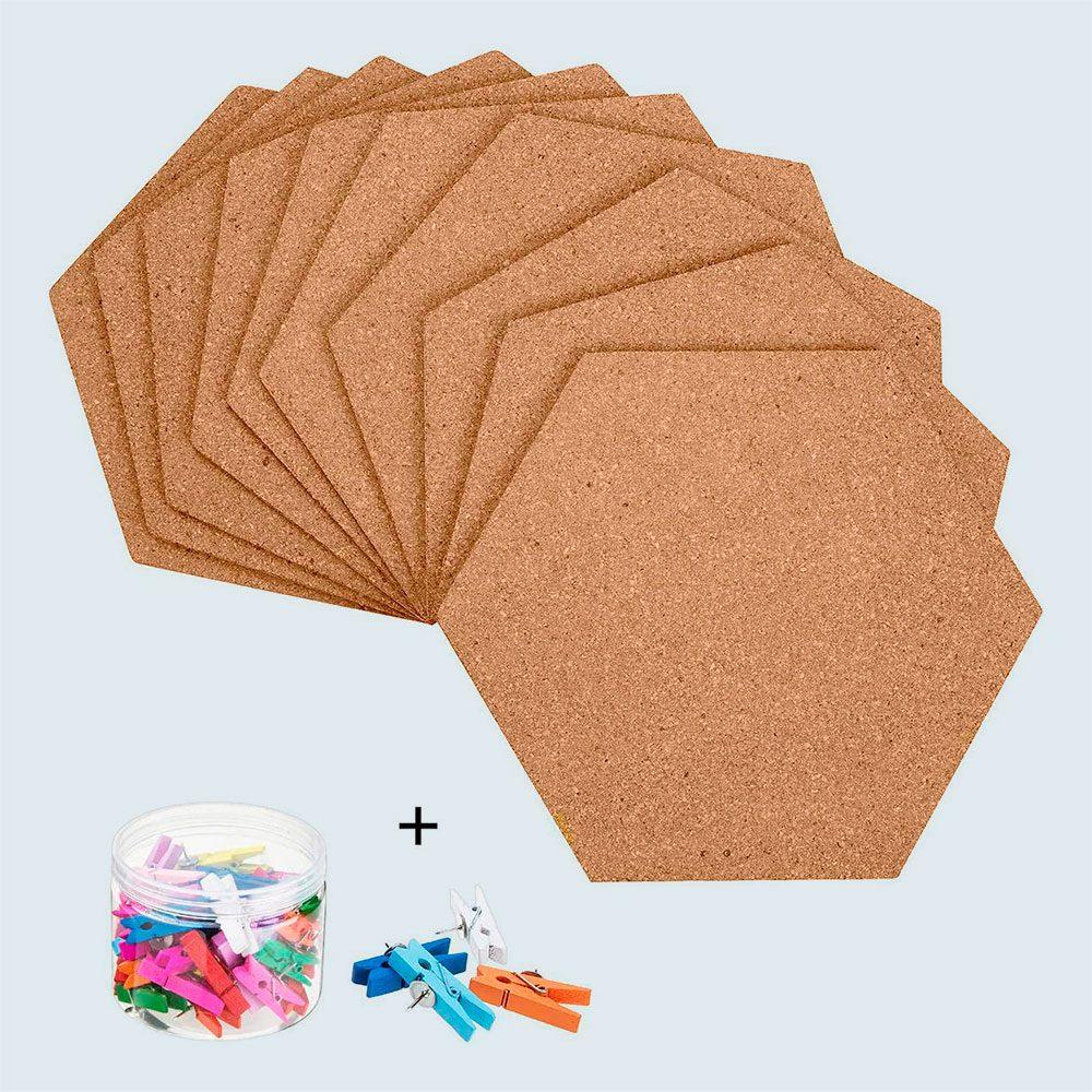 10 Pack Self Adhesive Cork Board Tiles Mini Wall Bulletin Board With 50 Multi Color Push Pins Via Amazon