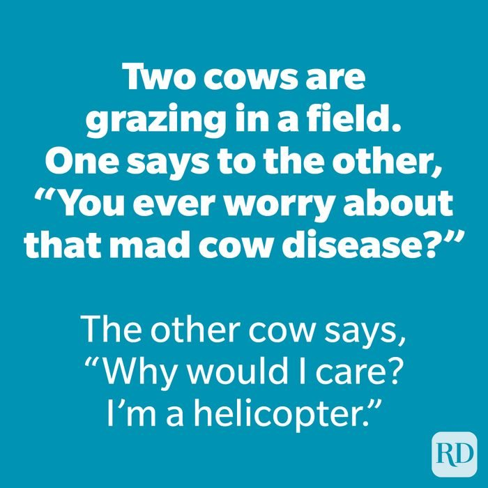 """Two cows are grazing in a field. One says to the other, """"You ever worry about that mad cow disease?"""""""