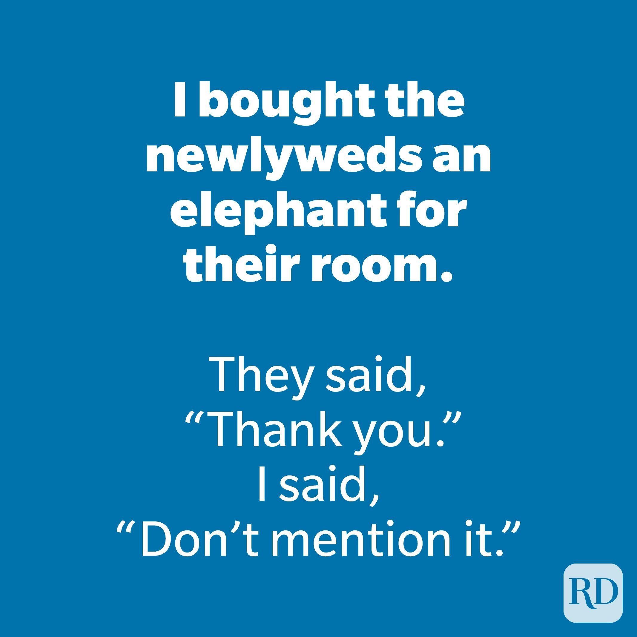 I bought the newlyweds an elephant for their room.