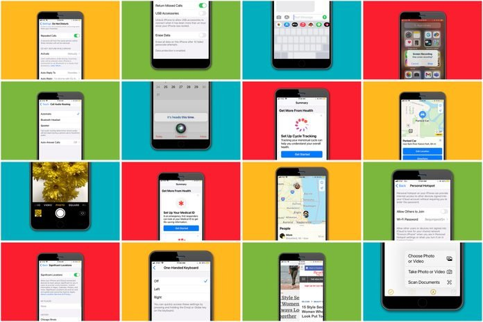 Grid of iphone screens displaying various hacks to save a user time and make life easier