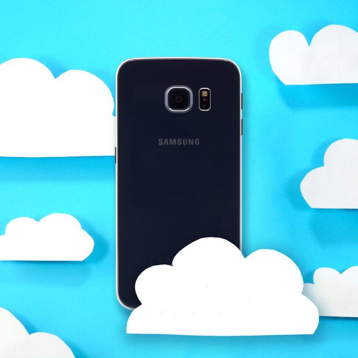 An Android Phone floating in the clouds