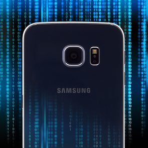 Android phone on background of dark code, to represent malware