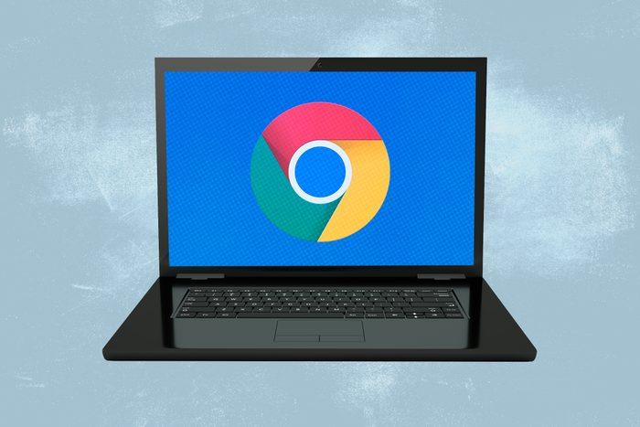 Laptop showing Google Chrome logo