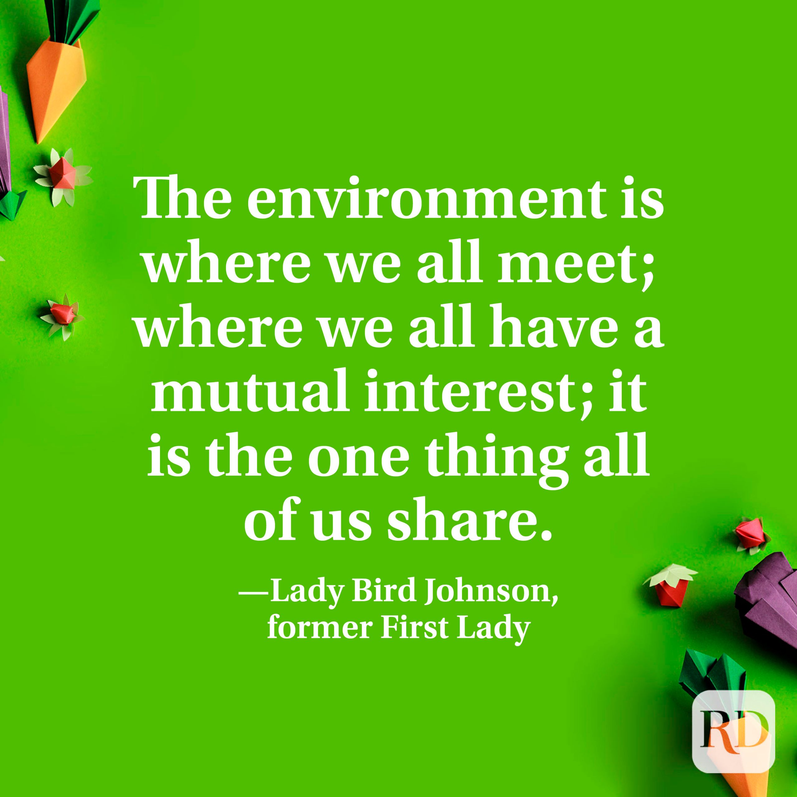 """""""The environment is where we all meet; where we all have a mutual interest; it is the one thing all of us share."""" —Lady Bird Johnson, former First Lady"""
