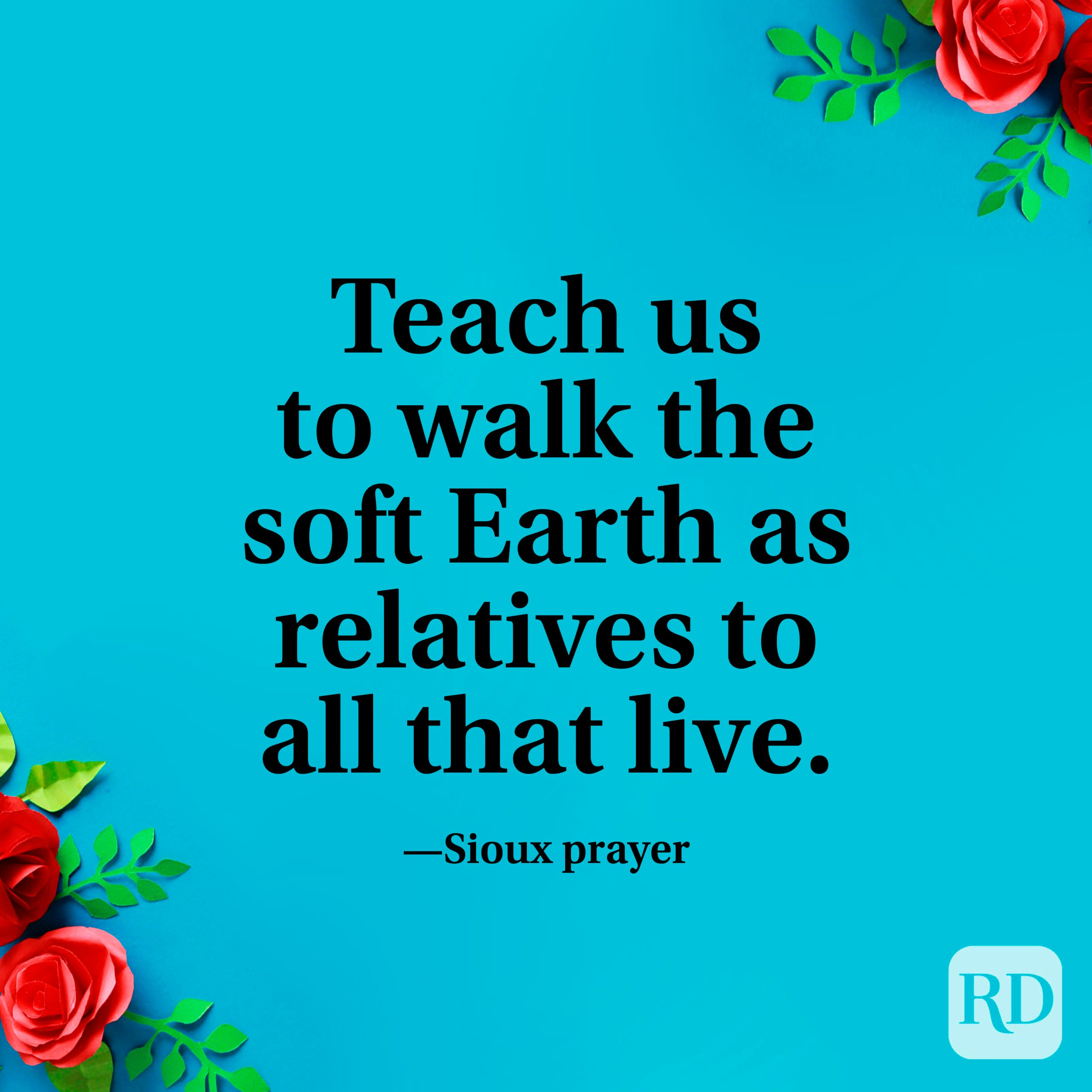 """""""Teach us to walk the soft Earth as relatives to all that live."""" —Sioux prayer"""