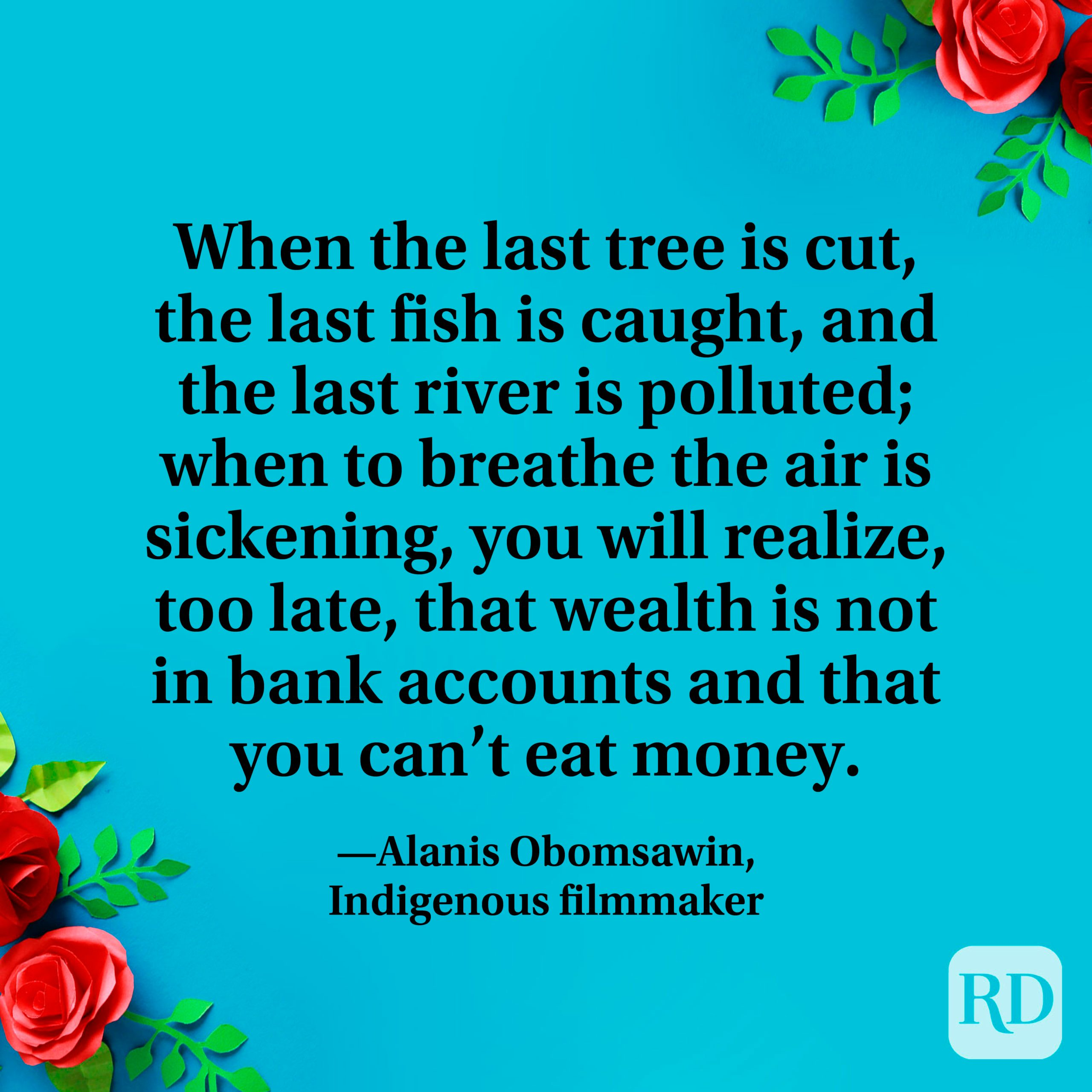 """""""When the last tree is cut, the last fish is caught, and the last river is polluted; when to breathe the air is sickening, you will realize, too late, that wealth is not in bank accounts and that you can't eat money."""" —Alanis Obomsawin, Indigenous filmmaker"""