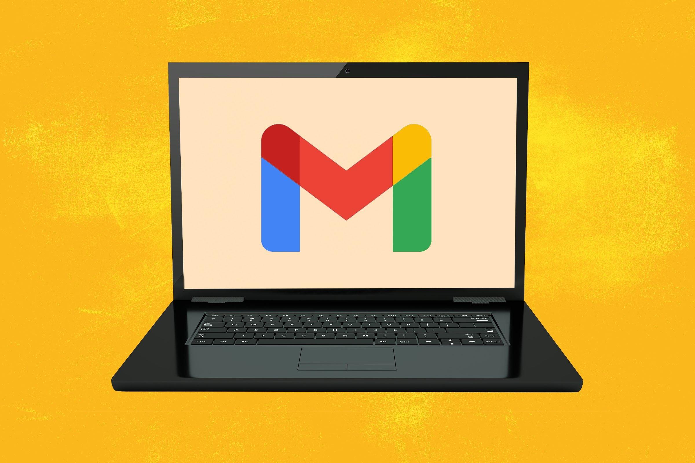 Windows computer screen showing Gmail logo