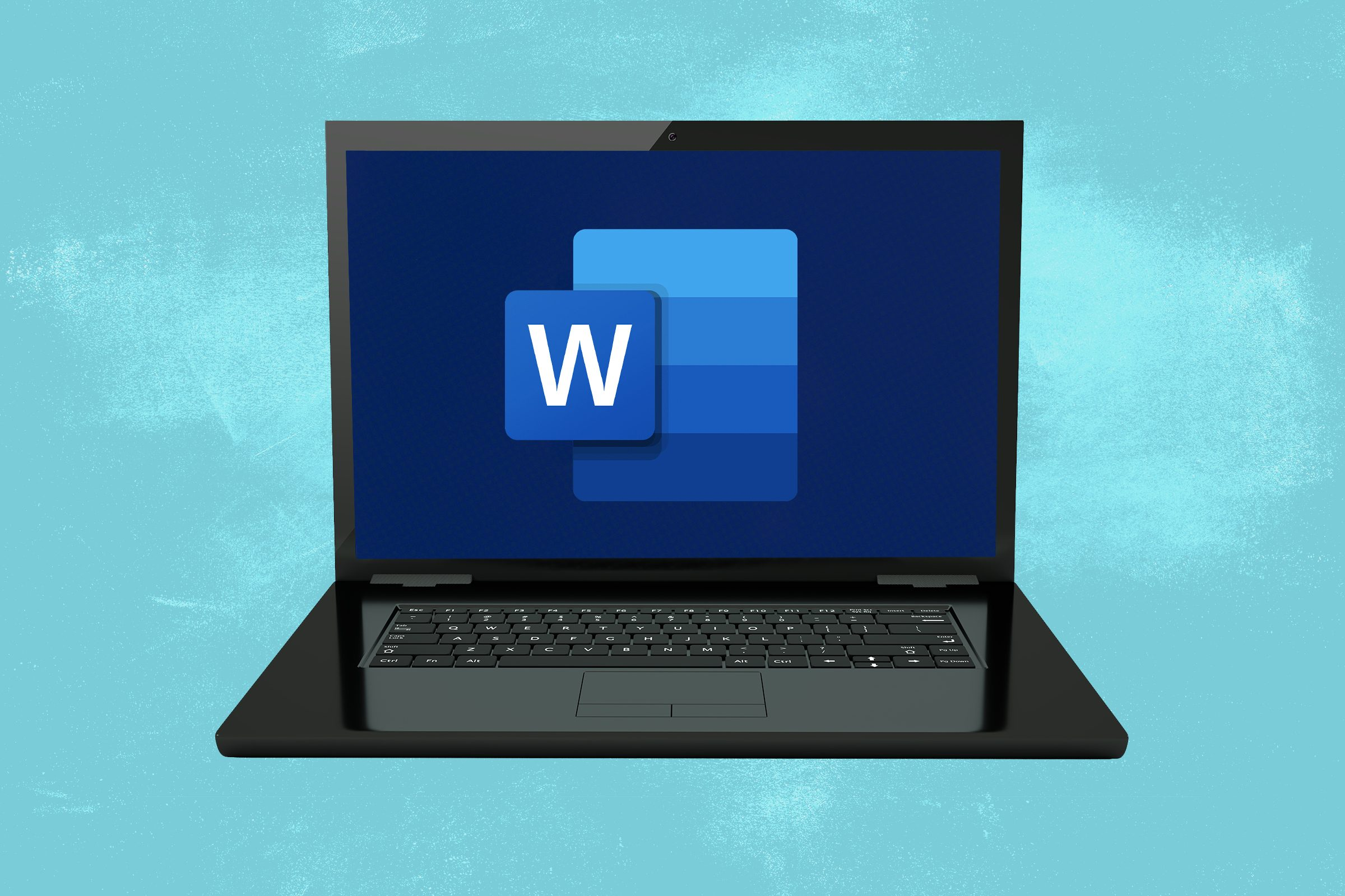 A laptop showing Microsoft Word icon