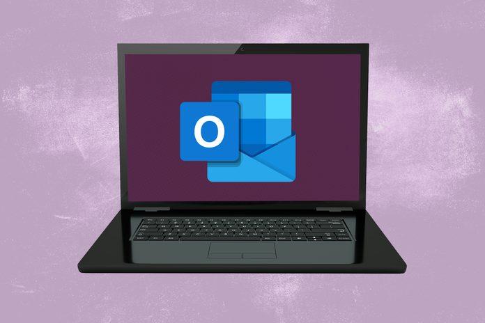 Windows computer screen showing Microsoft Outlook logo