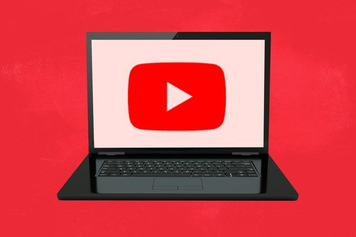 Windows computer screen showing YouTube logo