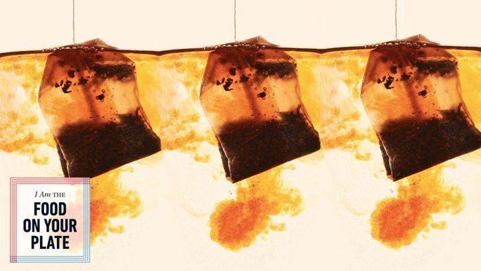 tea bags seeping in water