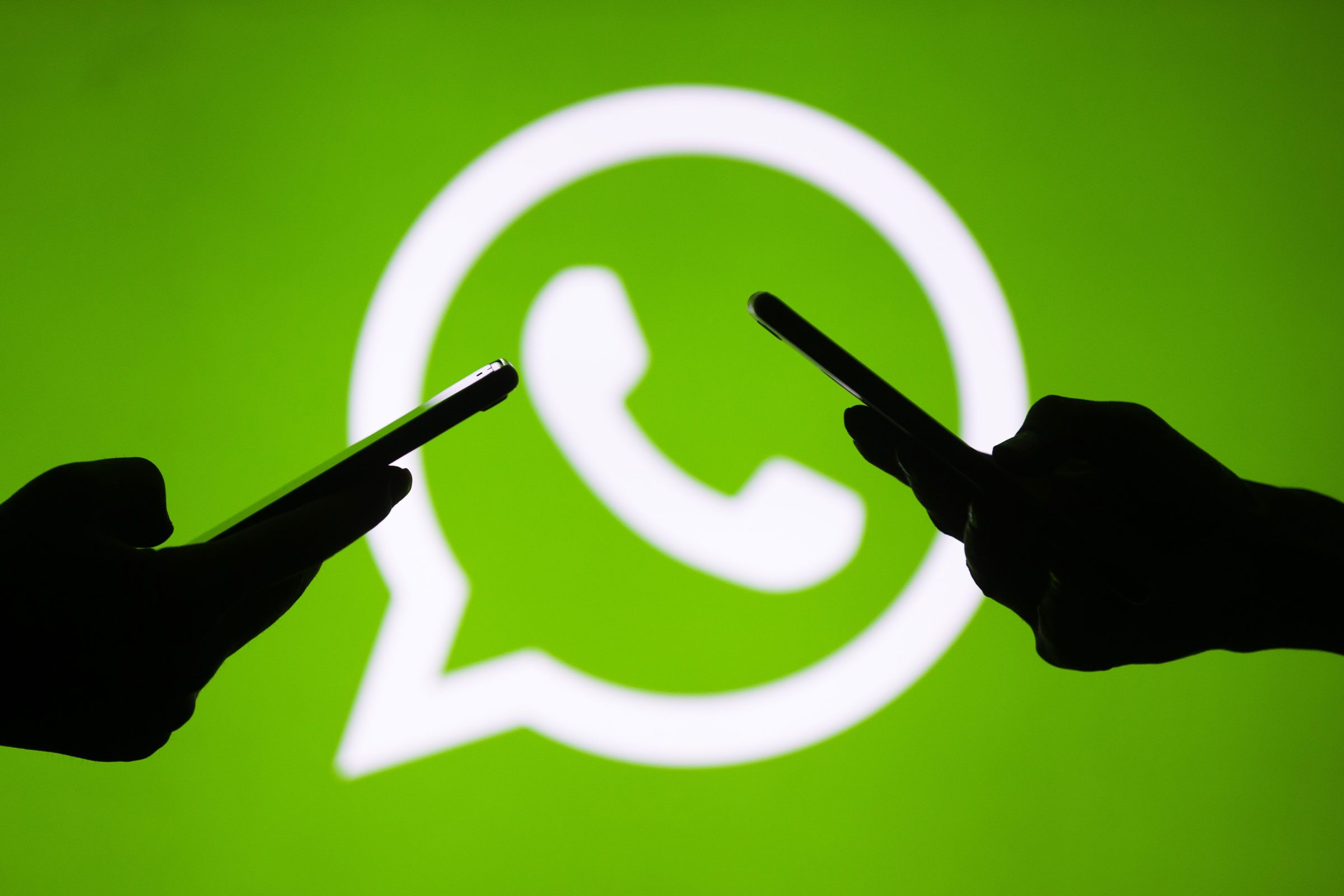 silhouettes of hands use WhatsApp with the logo in the background