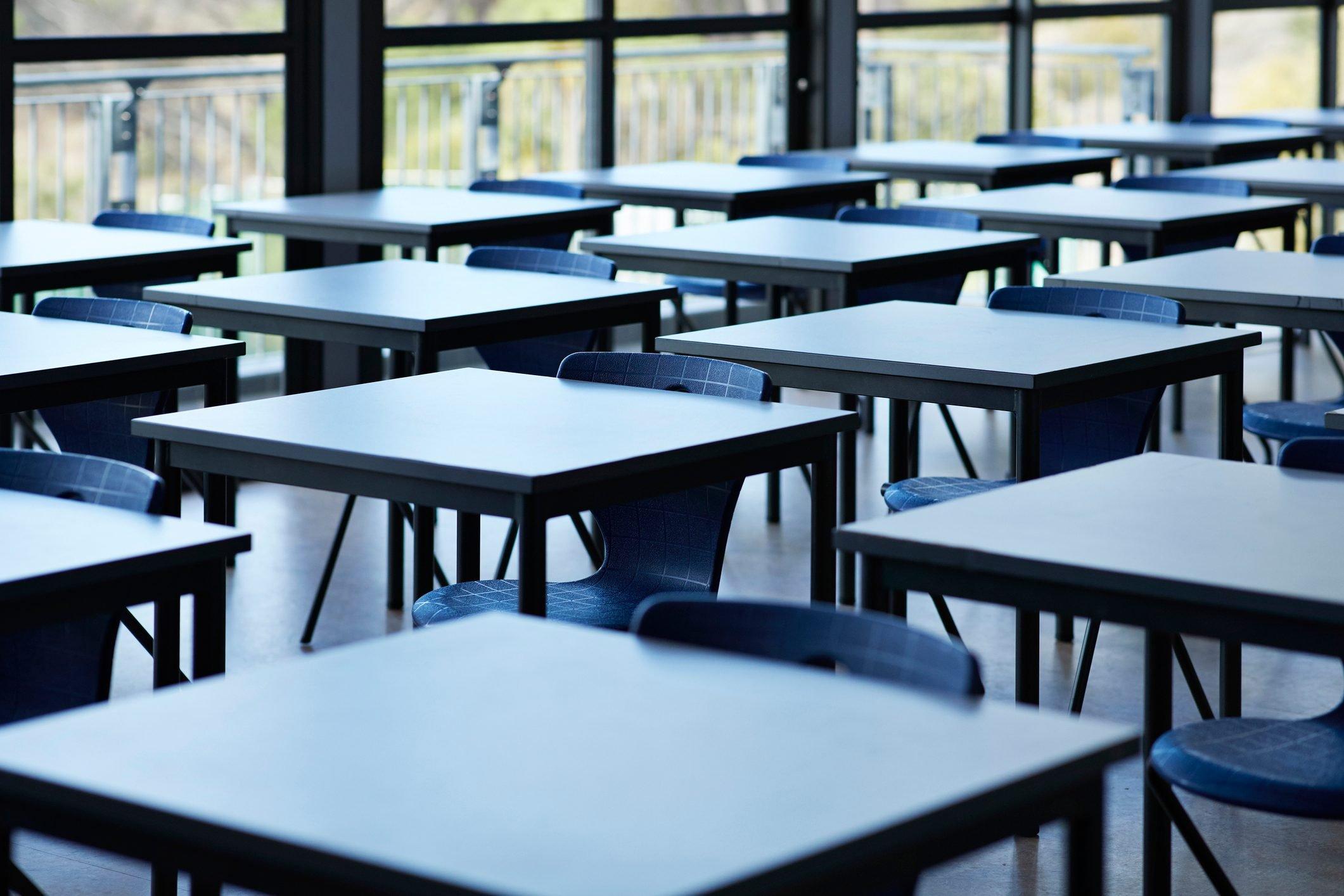 Big empty classroom at modern school