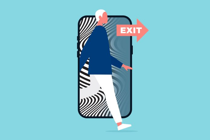 a figure stepping out of the frame of a smartphone with an EXIT sign pointing the way. on the screen is the black and white swirl illusion of doomscrolling