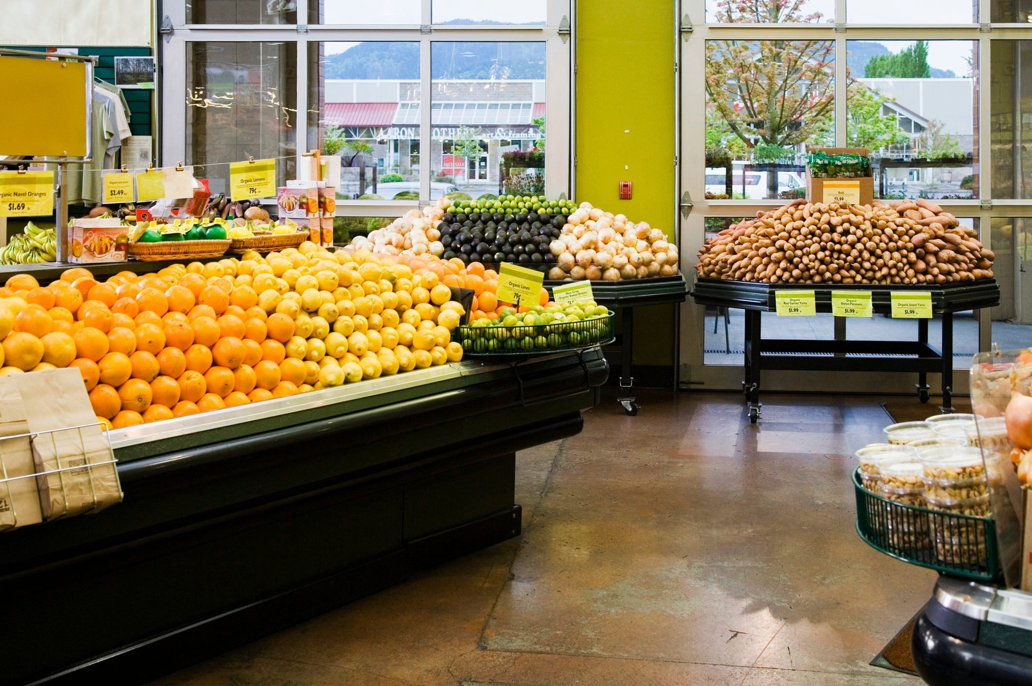 Fresh produce in grocery store