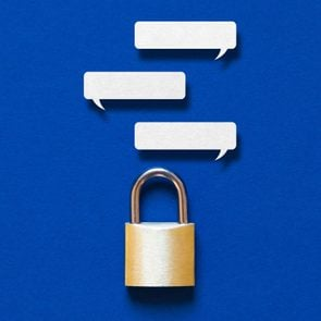 text message bubbles above a padlock to illustrate a secure messaging app concept